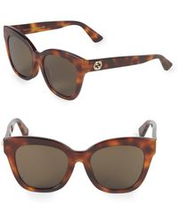 54e132e7e98 Lyst - Gucci Havana 53mm Cat Eye Sunglasses in Brown