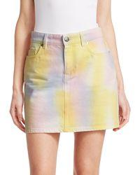 Ganni Paradise Tie Die Wash A-line Denim Skirt - Yellow