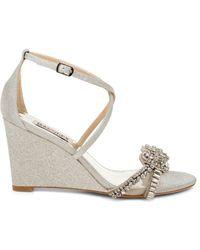 Badgley Mischka Women's Carolyn Ii Glitter Ankle-strap Wedge Sandals - Ivory - Size 8.5 - White