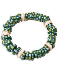 Akola Goldtone Egypt Beads Bracelet - Green