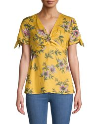 Ava & Aiden Women's Floral-print Twist-front Top - Daffodil - Size Xs - Yellow