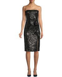 Parker Black Noelle Sequin Strapless Dress - Black