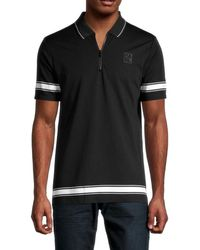 Karl Lagerfeld Men's Striped Zip Polo - Black - Size S