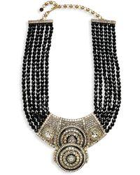 Heidi Daus Silvertone, Rhinestone & Beaded Double Circle Necklace - Multicolour