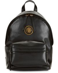 Versus Embellished Logo Leather Backpack - Black