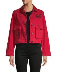 Valentino Butterfly Embellished Denim Jacket - Red