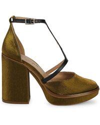 Free People Wythe T-strap Satin Platform Court Shoes - Metallic