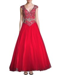 Mac Duggal - Embellished V-neck Dress - Lyst