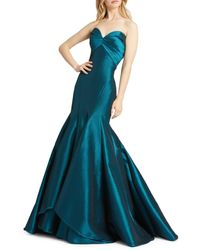 Mac Duggal Women's Strapless Taffeta Trumpet Gown - Cranberry - Size 2 - Blue