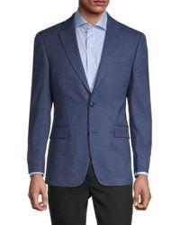 Tommy Hilfiger Men's Standard-fit Check Sportcoat - Blue - Size 44 R