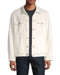 Versace Men's Graphic Denim Jacket - White - Size 50 (40)