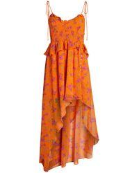 For Love & Lemons Peony Asymmetric High-low Maxi Dress - Orange