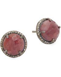Adornia - Ruby & Champagne Diamonds Echo Stud Earrings - Lyst
