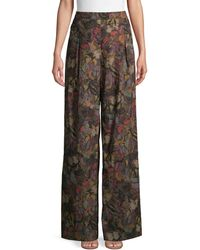 Valentino Butterfly Wide-leg Cotton Trousers - Multicolour