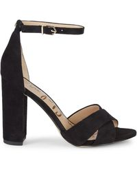 Sam Edelman Yancy Crossover Strap Suede Sandals - Black