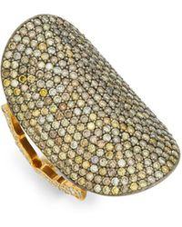 Sara Weinstock 18k Yellow Gold, Sterling Silver & Champagne Diamond Saddle Ring - Metallic
