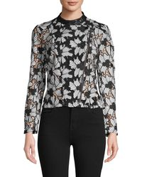 Yigal Azrouël Embroidered Floral Lace Top - Black
