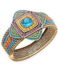 Heidi Daus Crystal Art Deco Bangle Bracelet - Metallic
