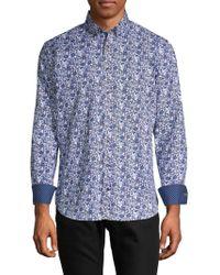 Bugatchi - Printed Long-sleeve Button-down Shirt - Lyst