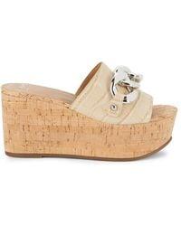 Marc Fisher Vaneda Croc-embossed Leather Wedge Sandals - Natural