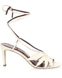 STAUD Women's Floral Ankle-tie Leather Sandals - Cream - Size 40 (10) - Multicolour