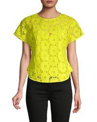 Diane von Furstenberg Nellie Floral Lace Top - Yellow