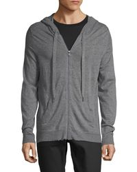 Zadig & Voltaire Men's Heathered Zip-front Cashmere Hoodie - Charcoal - Size M - Grey