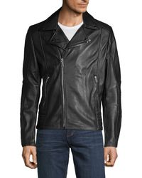 Karl Lagerfeld Full-zip Leather Moto Jacket - Black