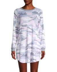Kensie Women's Camouflage-print Long-sleeve Sleepshirt - Ivory Multi - Size M - White