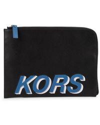 Michael Kors Men's Zip-around Leather Tech Organizer - Black