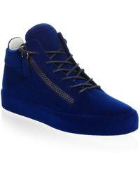 Giuseppe Zanotti Velvet Spray High-top Sneakers - Blue