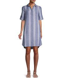 Beach Lunch Lounge Striped Linen & Cotton-blend Shirtdress - Blue