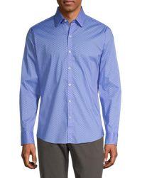 Zachary Prell Haidara Polka Dot Regular-fit Button Down Shirt - Blue