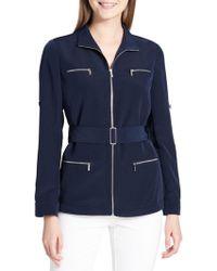 CALVIN KLEIN 205W39NYC Collared Belted Jacket - Blue
