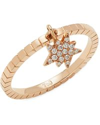 Diane Kordas 18k Rose Gold & Diamond Explosion Charm Ring - Metallic