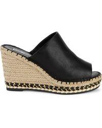 Karl Lagerfeld Black Carina Platform Espadrille Slide Sandals