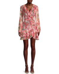 Bardot Ruffled Floral Wrap Dress - Pink