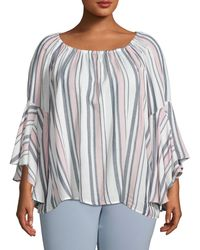 Fever Women's Plus Stripe Bell-sleeve Top - Pink Nectarine - Size 2x (18-20) - Multicolour
