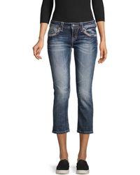 Miss Me Embellished Cropped Jeans - Blue