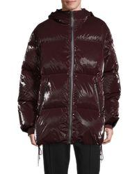 Helmut Lang Hooded Puffer Coat - Red