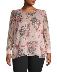 Vince Camuto Plus Floral Long-sleeve Top