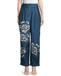 Free People Pep Rally High-waist Floral Trousers - Blue
