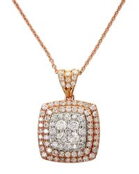 Effy 14k White And Rose Gold Diamond Pendant Necklace - Multicolour