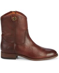 Frye Melissa Button Short Leather Boots - Brown