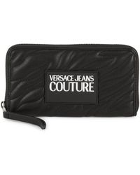 Versace Jeans Couture Women's Logo-patch Quilted Wallet - Black