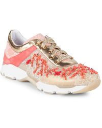 Rene Caovilla - Embellished Leather Trainers - Lyst