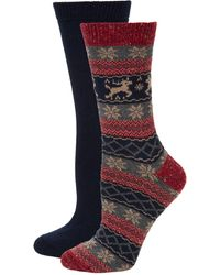 Hue - Women's 2-pack Textured Crew Socks - Lyst