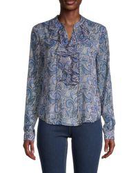 Tommy Hilfiger Women's Paisley Blouse - Blue - Size M