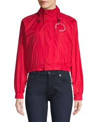 Opening Ceremony Cropped Nylon Wind Breaker - Red