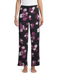 Donna Karan Moody Floral Stretch Pants - Black